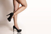 Sexy Woman In Fishnet Stocking...