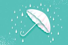 White Umbrella. Air With Raining. Origami Rain Drop. Rainy Weather. Protection And Safety. Parasol On Blue Sky. Happy Monsoon Season.