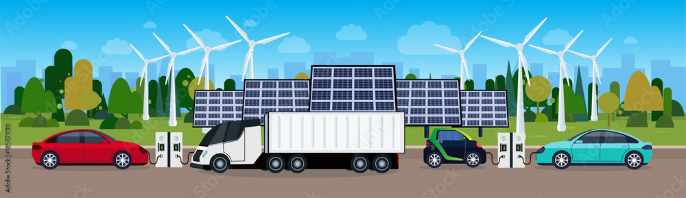 Fototapeta Power Station With Vechicles Charging Over Wind Trurbines And Solar Panel Batteries Eco Friendly Electric Car Concept Flat Vectro Illustration