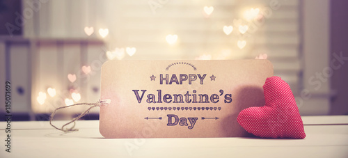 Fotografie, Obraz  Valentine's Day message with a red heart with heart shaped lights