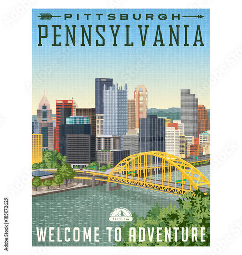 styl vintage plakat lub naklejki podróżne Pittsburgha Pensylwanii z rzeki, most i panoramę miasta.