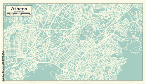 Photo Athens Greece Map in Retro Style.