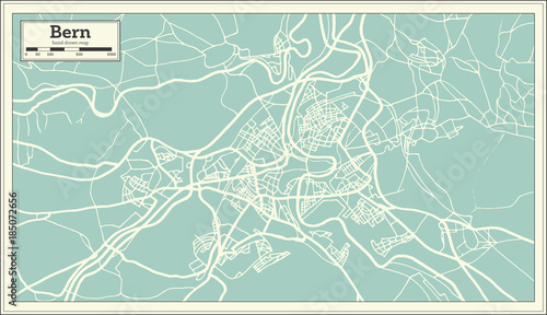 Bern Switzerland Map in Retro Style. Canvas Print