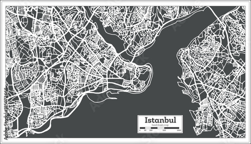 Istanbul Turkey Map in Retro Style. Wallpaper Mural