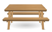 Picnic Wood Table On A White B...