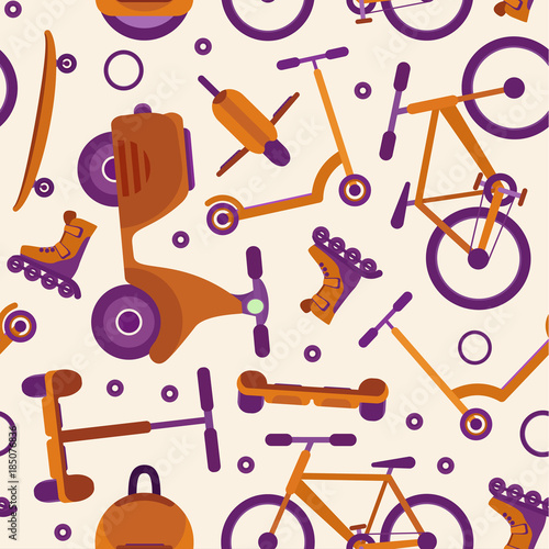 Fototapeta Light colors seamless pattern with purple and orange fashion teenager city transport on pale background