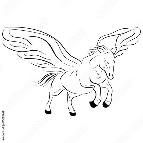 Papiers peints Cartoon draw Silhouette of a running pegasus vector sketch