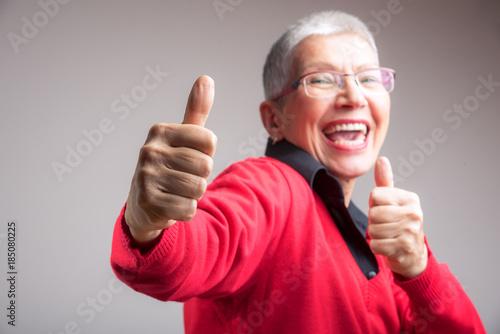 Senior lady approves Canvas Print