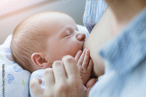 Obraz breastfeeding for newborns motherhood concept. helpful tips for feeding the baby. love and tenderness. - fototapety do salonu