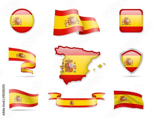 Foto  Spain Flag Collection. Vector illustration. Flag Set