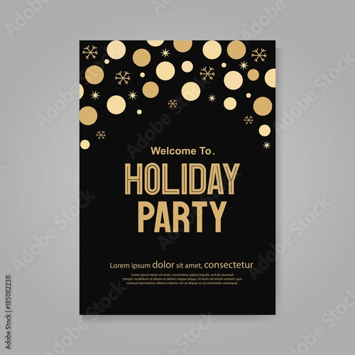 Obraz Vector illustration  design for holiday party and happy new year party invitation flyer and greeting card  template - fototapety do salonu