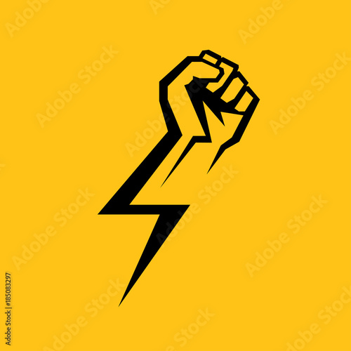 Valokuvatapetti Fist male hand, proletarian protest symbol. Power sign
