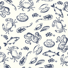 Seafood Seamless Pettern. Hand Drawn Vector Illustrations. Ocean Fish In Engraved Style. Sketch Of Crab, Lobster, Shrimp, Oyster, Mussel, Caviar.
