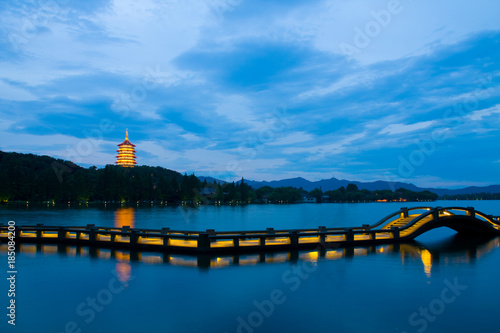Night view of Lei Feng tower of West Lake,Hangzhou City,China