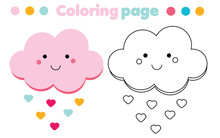 Coloring Page With Cute Cloud. Drawing Kids Game. Printable Activity