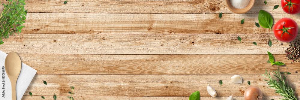 Fototapety, obrazy: Küche und Kochen - klassische Zutaten - Banner / Hintergrund