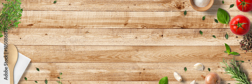 Fotografie, Obraz  Küche und Kochen - klassische Zutaten - Banner / Hintergrund