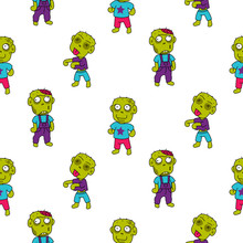 Zombie Cute Cartoon Kid Seamle...