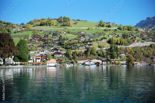Printed kitchen splashbacks City on the water Switzerland Thun Lake