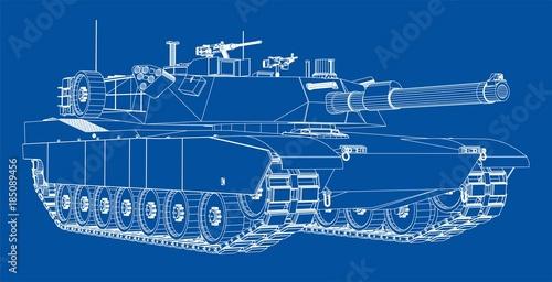 Photo Blueprint of realistic tank