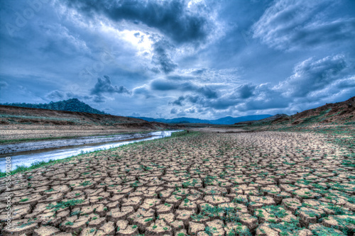 Vászonkép Climate change and drought land, Global warming concept, drought cracked river b