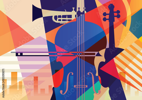 Colorful music background. Wallpaper Mural