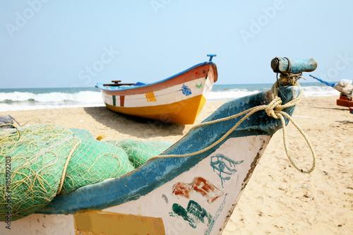 Fényképezés  Boote am Stran von Mamallapuram