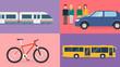 Verkehrsmittel Flat Design