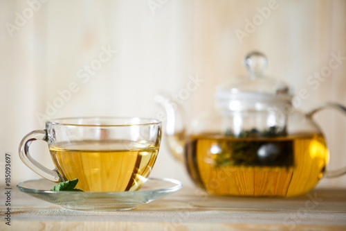 Photo sur Toile The Hot herbal healthy tea with ingredients