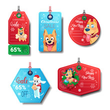 Set Of New Year Sale Tags Decorated With Dogs On White Background Isolated Flat Vector Illustration