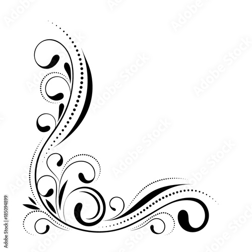 d1030ba8822 Floral corner design. Swirl ornament isolated on white background - vector  illustration. Decorative border with curve elements