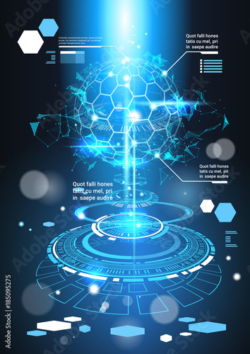 Infographic Elements Futuristic Template Banner With Copy Space Tech ...