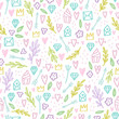 Cute doodle seamless pattern. Romantic, love. Vector background