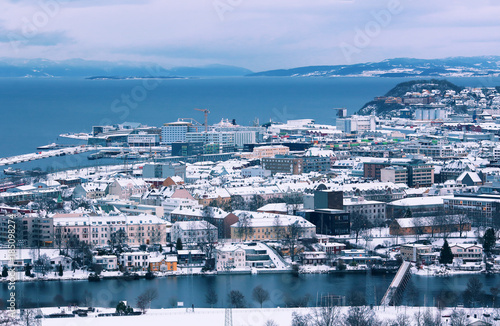 Poster Océanie Aerial view of the Norwegian city Trondheim