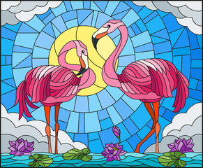 Naklejka Illustration in stained glass style with pair of Flamingo , Lotus flowers and reeds on a pond in the sun, sky and clouds