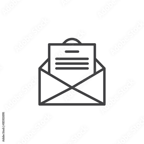Envelope email with postcard card letter line icon