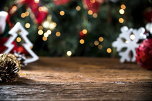 Christmas Table Blurred Lights Background, Wood Desk In Focus, Xmas Wooden Plank, Blur Home Room