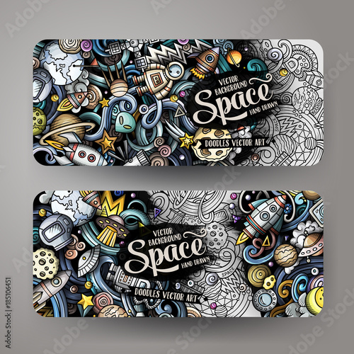 Obraz Cartoon cute doodles hand drawn space banners - fototapety do salonu