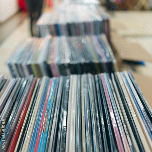 Tuinposter Muziekwinkel Sales of vinyl records in the music store