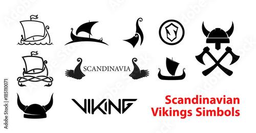 Fotografie, Obraz  Flat Scandinavian History Emblems isolated on white background