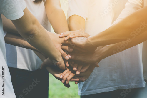 Fotografía Team teamwork business join hand together concept, Power of volunteer charity wo