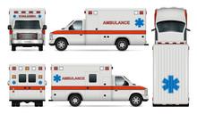 White Ambulance Car Vector Moc...