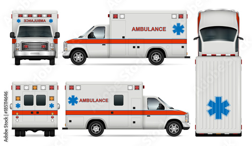White ambulance car vector mock-up Wallpaper Mural