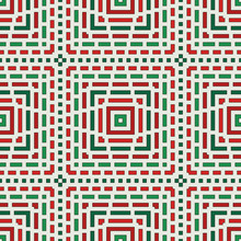 Dashed Lines Background. Seamless Geometric Pattern In Christmas Traditional Colors. Mosaic Ornament.