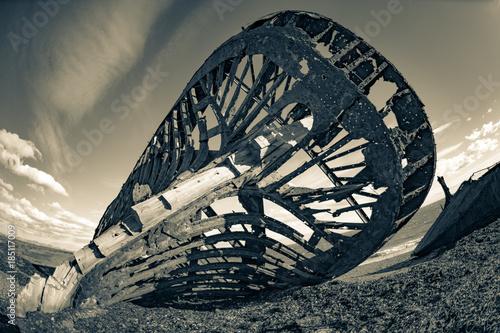 Foto op Canvas Schipbreuk Ship of century XIX, shipwrecked in the Blue Bay, region of Strait of Magellan, Chilean Patagonia.