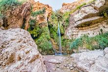David's Waterfall At Ein Gedi Nature Reserve, Israel.