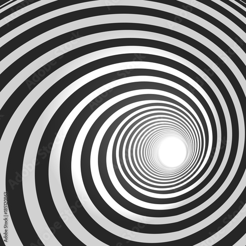 Fototapety, obrazy: Vector optical illusion black and white twisted stripes abstract background.