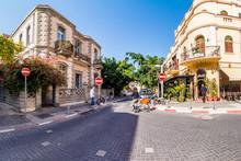 Street Scene In Neve Zedek District In Tel Aviv, Israel.