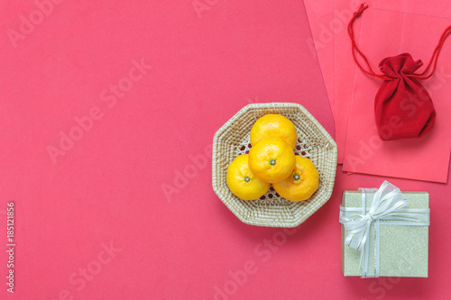 Table Top Of Accessories Chinese New Year Decoration Lunar Holiday Background ConceptOrange In