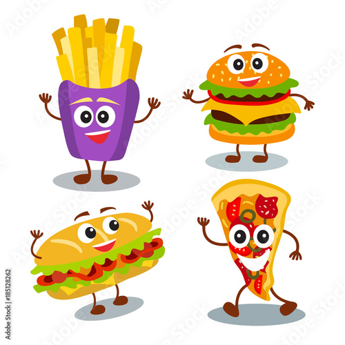 Funny Cute Fast Food Hamburger Sandwich Pizza French Fries With